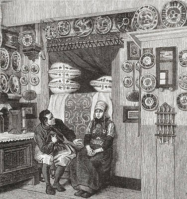 Interior Of A Typical Wooden House On Poster