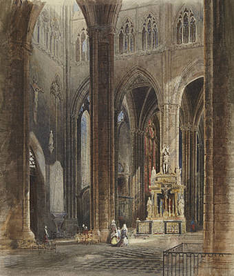 Interior Of Amiens Cathedral Poster