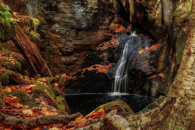 Intimate Autumn Waterfall Poster by John Vose