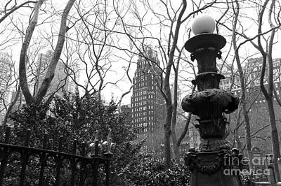 Into Bryant Park Mono Poster by John Rizzuto