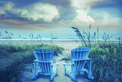 Into The Blue Chairs At The Sea Poster