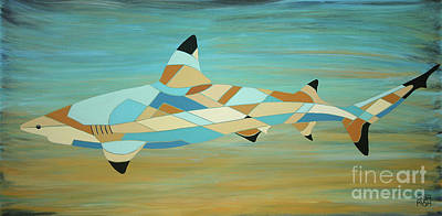 Into The Blue I Shark Painting Poster