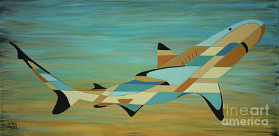 Into The Blue Shark Painting Poster