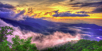 Into The Sun Blue Ridge Mountain Parkway Sunrise Art Poster