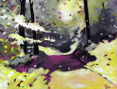 Poster featuring the painting Into The Woods 2 by Anil Nene