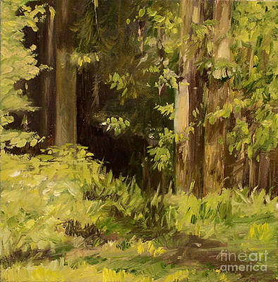 Poster featuring the painting Into The Woods by Laurie Rohner