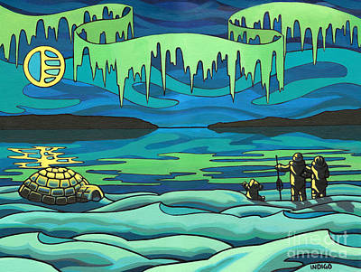 Inuit Love Arctic Landscape Painting Poster by Kim Hunter