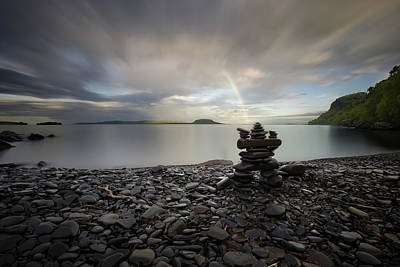 Inukshuk With A Rainbow Poster