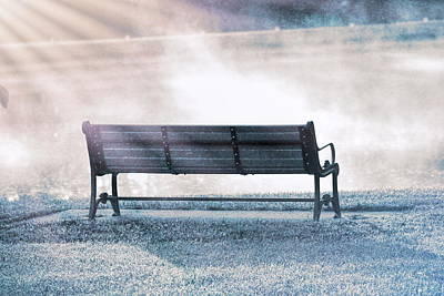 Inviting Morning Bench Poster by Dan Sproul