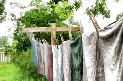 Iowa Farm Laundry Day  Poster by Wilma Birdwell