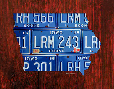 Iowa State License Plate Map Art Poster