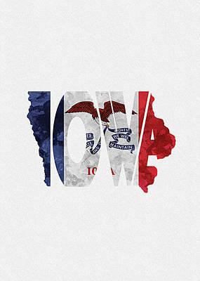Iowa Typographic Map Flag Poster