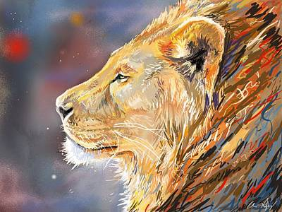 Ipad Painting - Lion Profile Poster by Aaron Spong