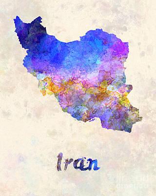 Iran In Watercolor Poster