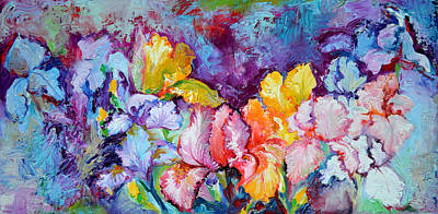 Iris Field, Oil Spring Flowers, Floral Painting Poster