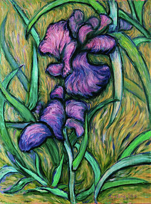 Poster featuring the painting Iris For Vincent - Contemporary Fauvist Post-impressionist Oil Painting Original Art On Canvas by Xueling Zou