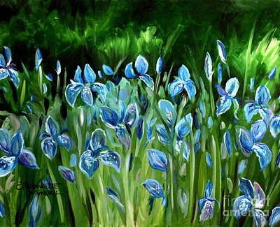 Poster featuring the painting Iris Galore by Elizabeth Robinette Tyndall