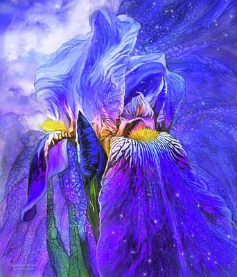 Poster featuring the mixed media Iris - Goddess Of Starlight by Carol Cavalaris