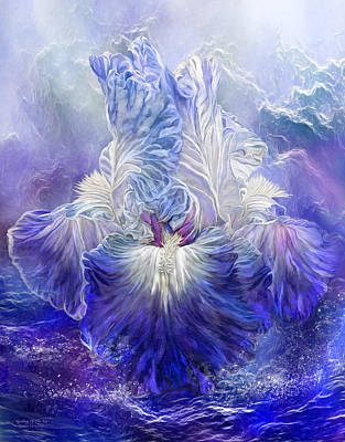 Poster featuring the mixed media Iris - Goddess Of The Sea by Carol Cavalaris