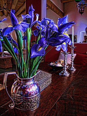 Poster featuring the photograph Iris In Silver Pitcher by Paul Cutright