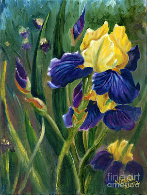 Poster featuring the painting Iris by Renate Nadi Wesley