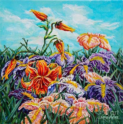 Poster featuring the painting Iris With Daylily by Gail Allen