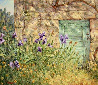 Irises At The Old Barn Poster