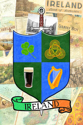 Irish Coat Of Arms - Heraldic Art Poster by Mark E Tisdale