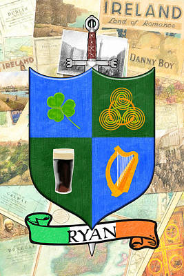 Irish Coat Of Arms - Ryan Poster by Mark E Tisdale