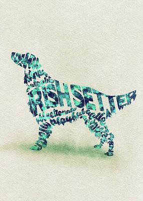 Irish Setter Watercolor Painting / Typographic Art Poster