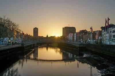 Irish Sunrise On The Liffey River Poster by Bill Cannon