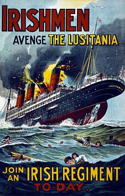 Irishmen - Avenge The Lusitania. Join Poster by Everett