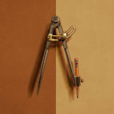 Iron Compass On Color Paper Poster