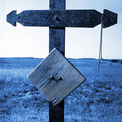 Iron Cross Grave Marker Blue Toned Poster by Donald  Erickson