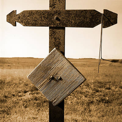 Iron Cross Grave Marker Sepia Toned Poster by Donald  Erickson