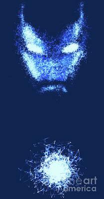 Iron Man - Blue Poster by Prar Kulasekara