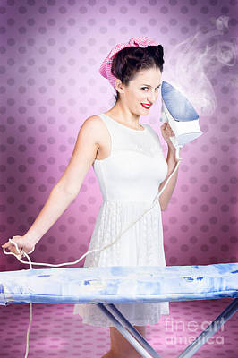 Ironing Pinup Housewife Doing Sixties Housework Poster