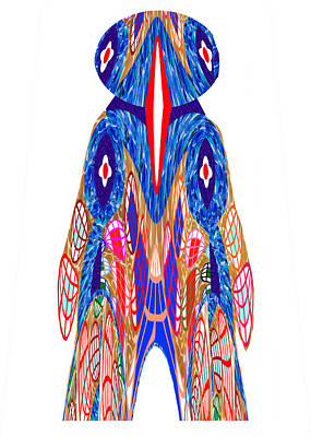 Is That A Head Or A Hat ??  Alien Fineart Graphic Whimsical Rohrshoc Abstract By Navinjoshi Poster