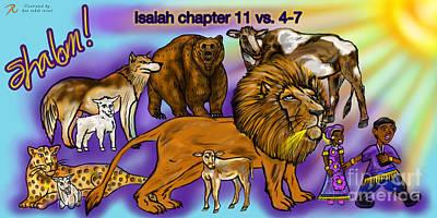 Isaiah 11 Vs 4-7 Poster