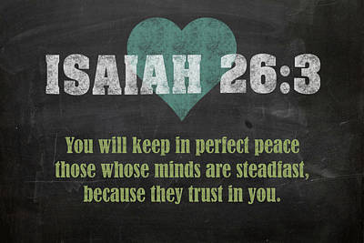Isaiah 26 3 Inspirational Quote Bible Verses On Chalkboard Art Poster by Design Turnpike