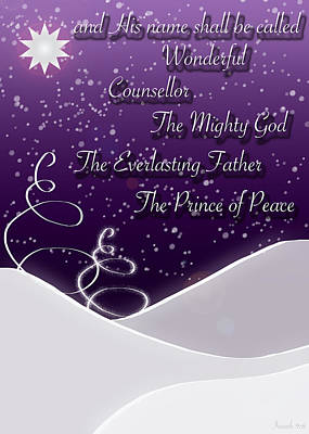 Isaiah Chapter 9 Verse 6 Christmas Card Poster by Lisa Knechtel