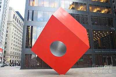 Isamu Noguchi Red Cube In Nyc Poster by John Telfer