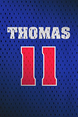 Isiah Thomas Detroit Pistons Number 11 Retro Vintage Jersey Closeup Graphic Design Poster by Design Turnpike