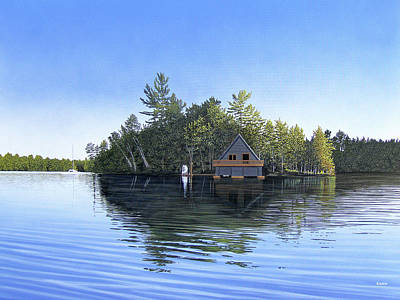 Poster featuring the painting Island Boathouse Muskoka  by Kenneth M Kirsch