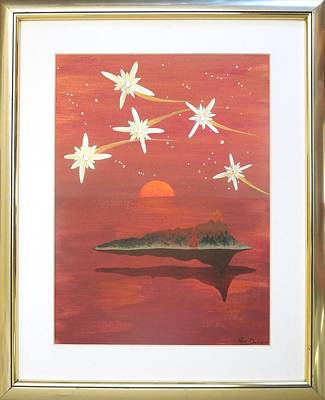 Poster featuring the painting Island In The Sky With Diamonds by Ron Davidson