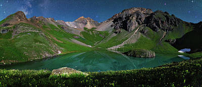 Island Lake Nightscape Panorama Poster by Mike Berenson