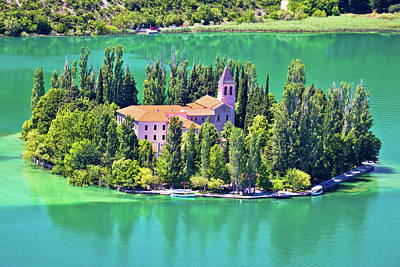 Island Of Visovac Monastery In Krka  Poster by Brch Photography