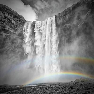 Iceland Skogafoss - Double Rainbow Poster