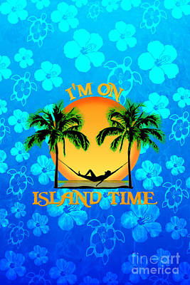 Island Time Blue Flowers Poster by Chris MacDonald
