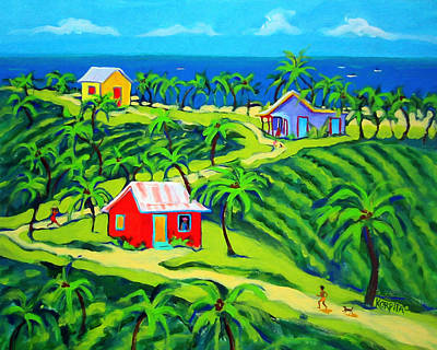Island Time - Colorful Houses Caribbean Cottages Poster by Rebecca Korpita